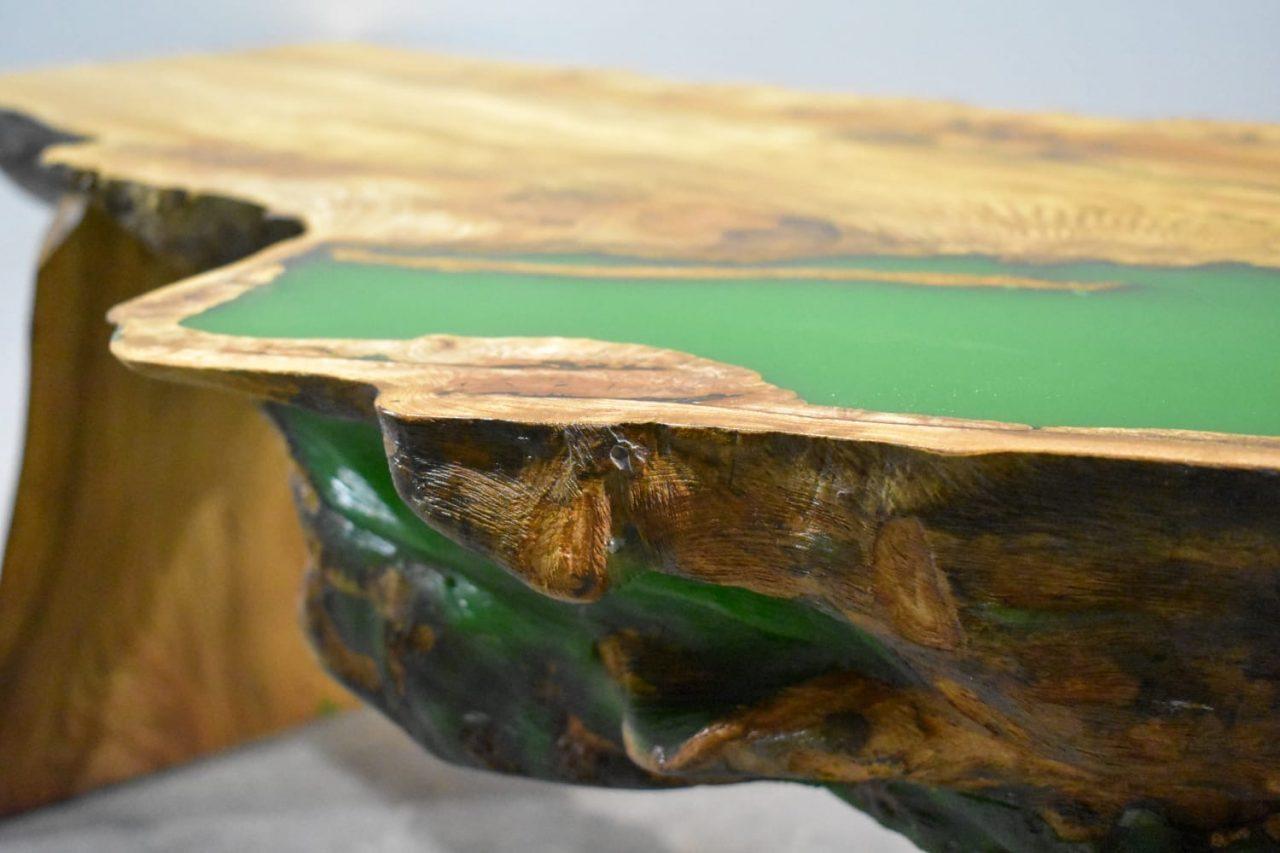 Craobh Woodwork's Green Loch Log Table detail