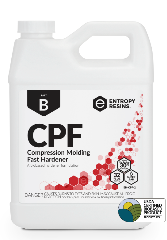 CPF Compression Molding Fast Hardener is a USDA Certified Biobased Product by Entropy Resins