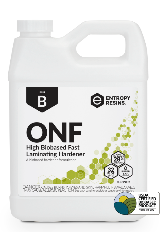 ONF High Biobased Fast Laminating Hardener is a USDA Certified Biobased Product by Entropy Resins