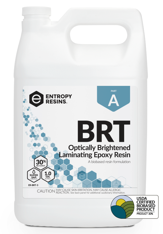 BRT Optically Brightened Laminating Epoxy Resin is a USDA Certified Biobased Product by Entropy Resins