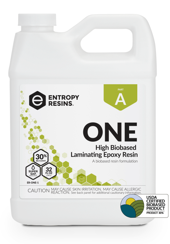 ONE High Biobased Laminating Epoxy Resin is a USDA Certified Biobased Product by Entropy Resins