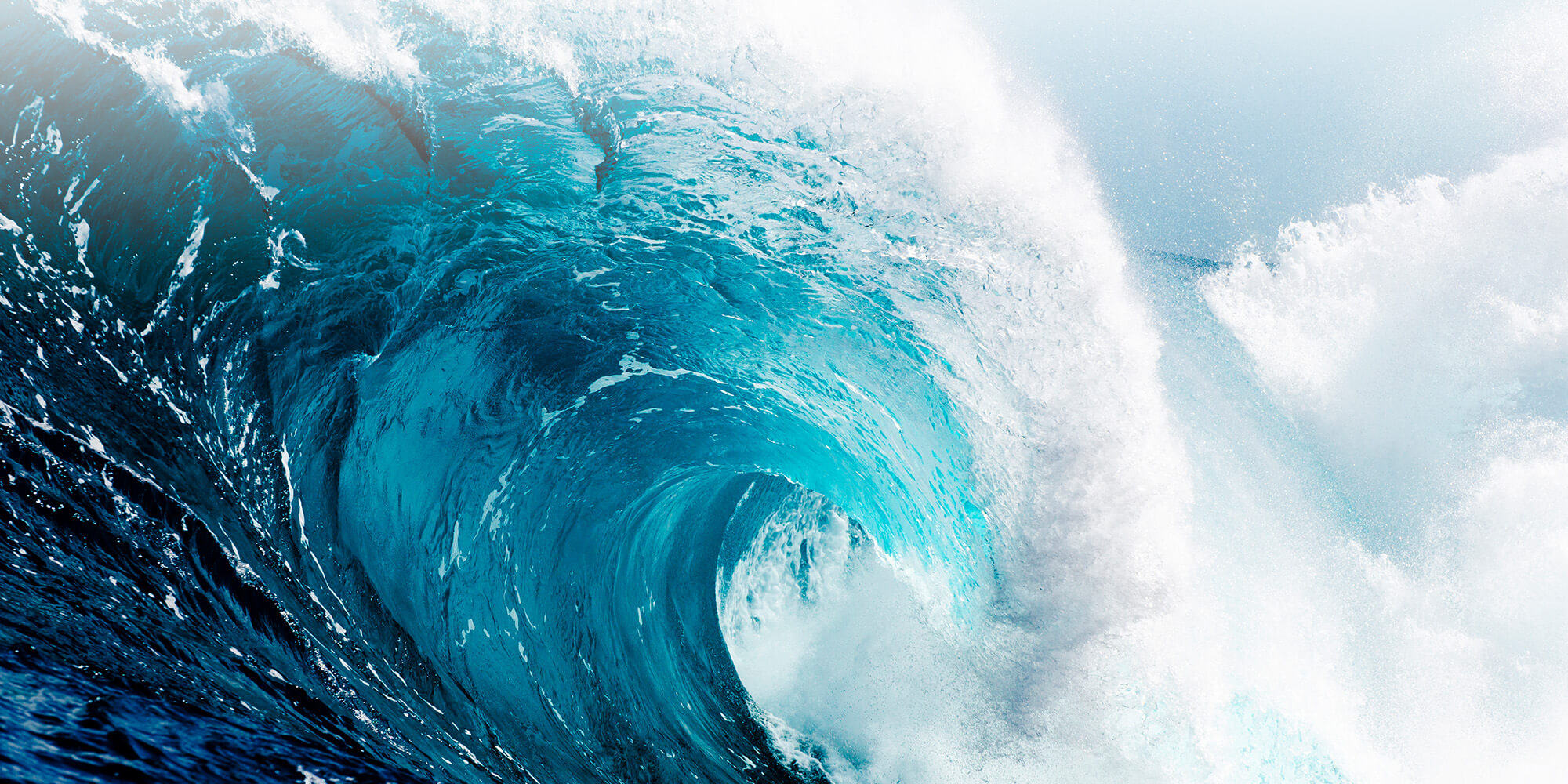Blue wave crashing