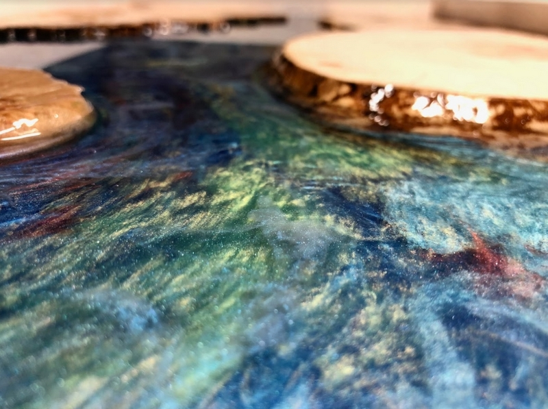 River of LIfe, a table (detail) in silver maple and Entropy CCR by Noah Witenstein.